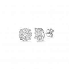 14k White Gold and Diamond Cluster 1.50TW Stud Earrings
