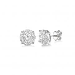 14k White Gold and 2.10TW Diamond Cluster Stud Earrings