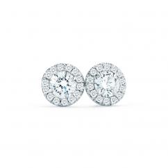 Lisette 18k Gold Single Halo .75CT Diamond Earrings