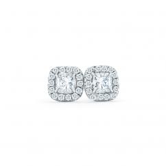 Lisette 18k White Gold and .75ct Cushion Diamond Studs