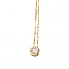 Lisette 18k Yellow Gold and Diamond Single Halo Pendant