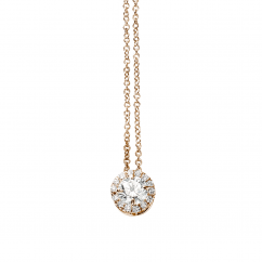 Lisette 18k Rose Gold Halo and .25ct Cushion Diamond Pendant