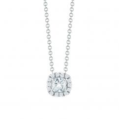 Lisette 18k Gold and .50ct Cushion Diamond Pendant
