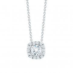 Lisette 18k Gold and .75ct Cushion Diamond Pendant