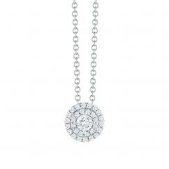 Lisette 18k White Gold Double Halo Cushion Diamond Pendant