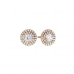 Lisette 18k Rose Gold and Diamond Double Halo Earrings