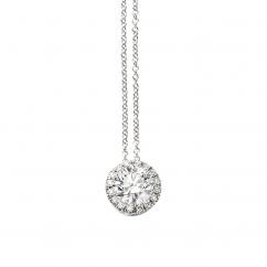 Lisette 18k Gold and Diamond Single Halo Pendant