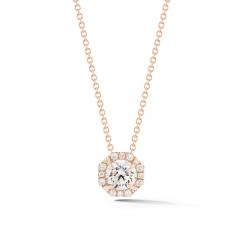 Lisette 18k Rose Gold and Diamond Octagon Pendant