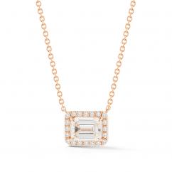 Lisette 18k Rose Gold and Radiant Diamond Pendant