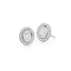 Lisette 18k Gold and Oval Diamond Studs
