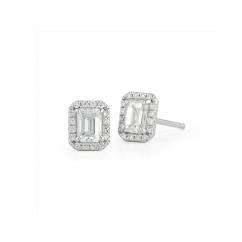 Lisette 18k Gold and Emerald Cut Diamond Studs