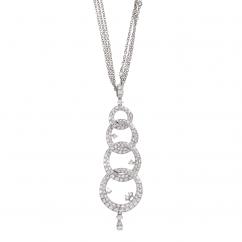 Classic 18k Gold and Diamond Interlocking Circle Pendant