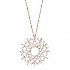 18k Yellow Gold Marquise and Round Diamond Pendant