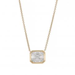 18k Yellow Gold and Mosaic Diamond Pendant