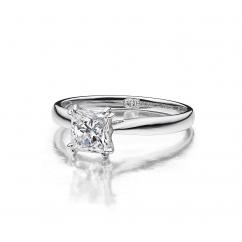 Hamilton Centennial 18k White Gold Solitaire Ring for Princess Cut Diamond