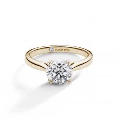 Hamilton Centennial 18k Yellow Gold Solitare Engagement Ring For Round Diamond