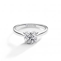 Hamilton Centennial 18k White Gold Engagement Ring For Round Diamond