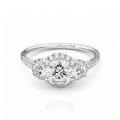 Lisette 18k White Gold 3 Stone Diamond Engagement Ring