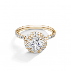 Lisette 18k Yellow Gold and Diamond Double Halo Engagement Ring