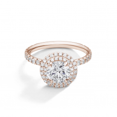 Lisette 18k Rose Gold and Diamond Double Halo Engagement Ring