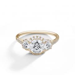 Lisette 18k Yellow Gold Three Stone Diamond Engagement Ring
