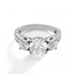 1912 3 Stone 18k White Gold Engagement Mounting Ring