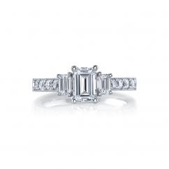 18k White Gold Three Stone Diamond Emerald Cut Engagement Mounting Ring