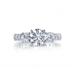 18k White Gold and Three Stone Diamond 1.50TW Engagement Ring