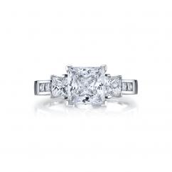 18k White Gold Three Stone Princess Cut Diamond Engagement Ring