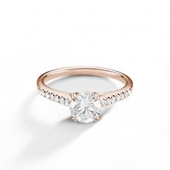 Hamilton Cherish 18k Rose Gold and Diamond Micro Prong Engagement Ring
