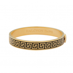 Halcyon Days Greek Key Black and Gold Bangle