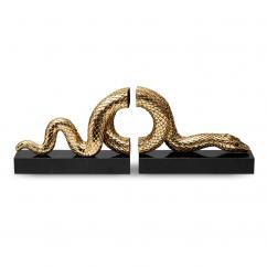 L'Objet Gold Snake Bookends Set of 2