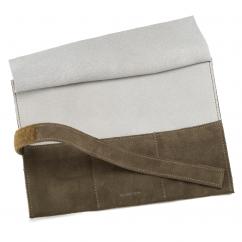 Italian Brown Leather Three Watch Roll Case
