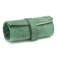 Italian Green Leather Three Watch Roll Case