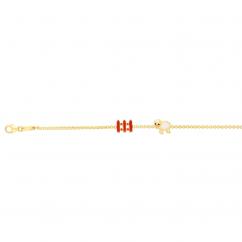 Childs 14k Yellow Gold and Enamel Sheep Bracelet