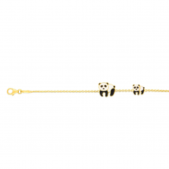 Childs 14k Gold and Enamel Panda Bracelet
