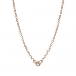 14k Rose Gold Childs First Hamilton Diamond Necklace