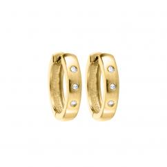 Children's 14k Gold and Diamond Snap Hoop Earrings