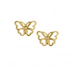Children's 14k Yellow Gold Butterfly Stud Earrings