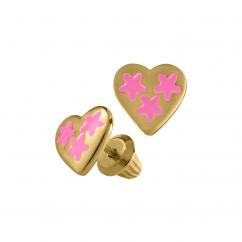 Children's 14k Yellow Gold and Pink Enamel Heart Earrings