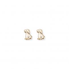 Children's 14k Yellow Gold Dog Stud Earrings