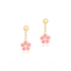Children's 14k Gold and Pink Enamel Flower Drop Earrings