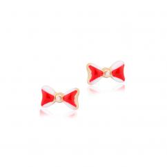 Children's 14k Gold and Enamel Bow Stud Earrings