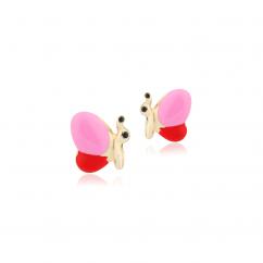 Children's 14k Gold Butterfly Enamel Stud Earrings