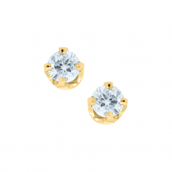 Children's 14k Yellow Gold and .10TW Diamond Stud Earrings