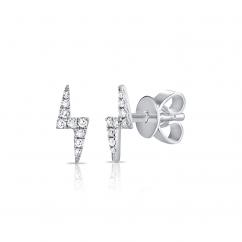 14k White Gold and Diamond Bolt Stud Earrings