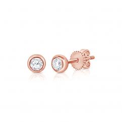 14k Rose Gold and Diamond Bezel Set Stud Earrings