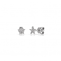 14k White Gold and Diamond Mini Star Earrings