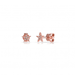 14k Rose Gold and Diamond Mini Star Earrings
