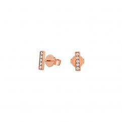 14k Rose Gold and Diamond Mini Bar Earrings